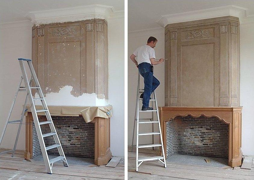 Restauraties en replica interieurschilderwerk gerealiseerd door het atelier van hoef - Parket aan de muur ...