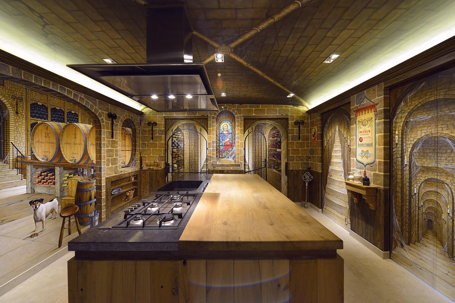 Wijnkeldermuurschildering in een keuken