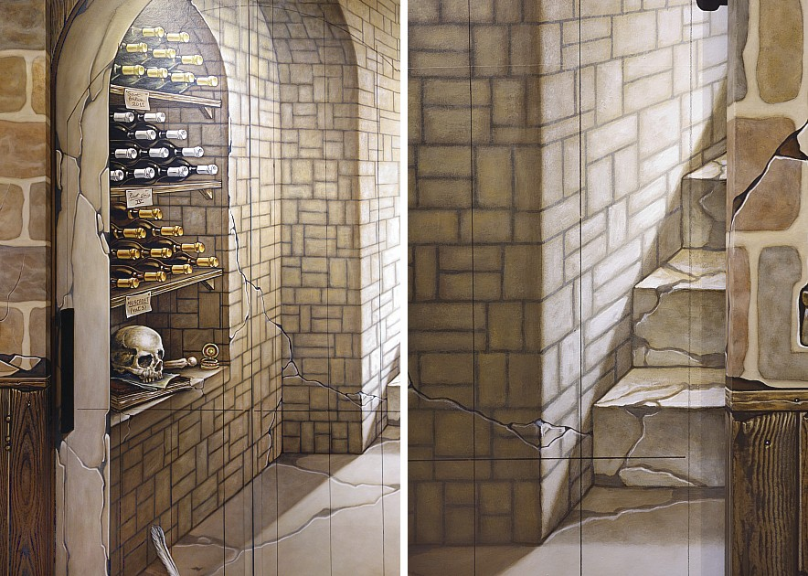 Muurschilderingen van het atelier van hoef uit het jaar 2014 pagina 7 - Keuken met wijnkelder ...