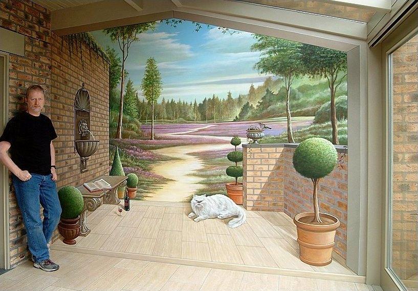 Enkele geslaagde trompe l 39 oeil muurschilderingen uit het atelier van hoef - Deco trompe l oeil muurschildering ...