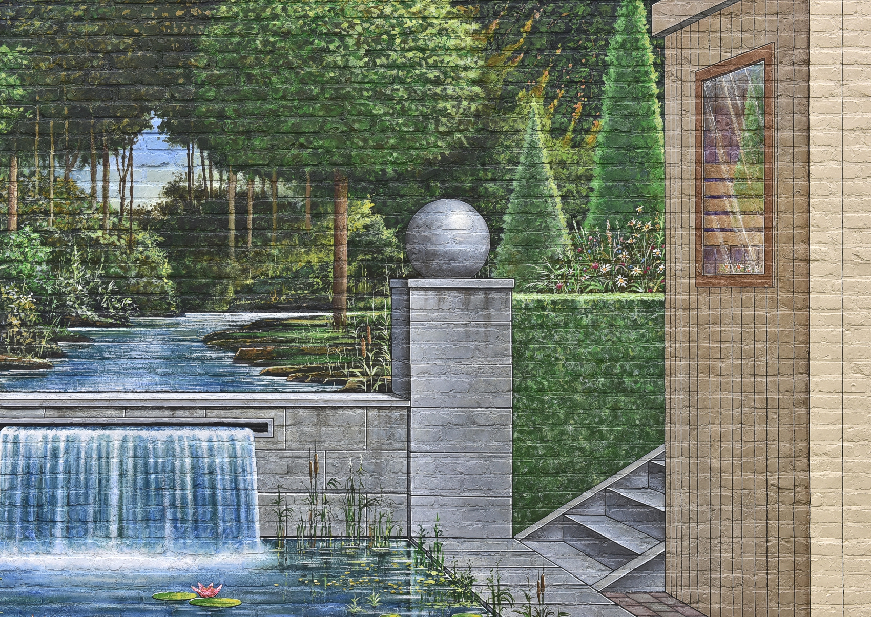 Trompe l 39 oeil muurschildering buiten op een tuinmuur - Deco trompe l oeil muurschildering ...