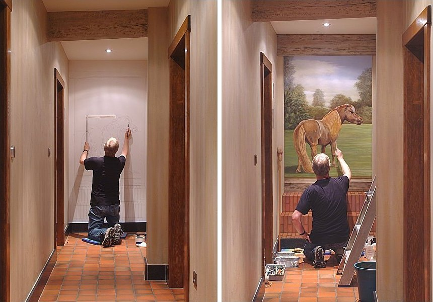Enkele professionele projecten met trompe l 39 oeil muurschilderingen uit het atelier van hoef - Verf voor gang ...