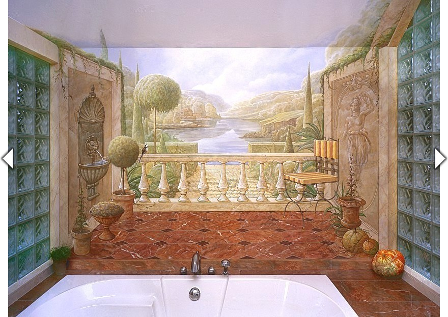 Trompe-l\'oeil muurschildering in een badkamer uit het Atelier VAN HOEF.