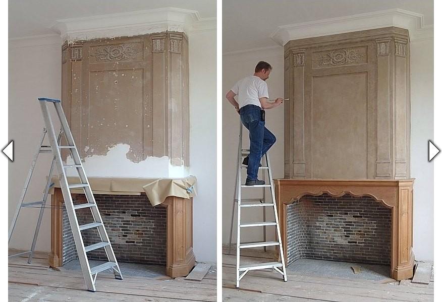 Restauratie van een beschilderde schouw uitgevoerd door het atelier van hoef - Kamer jaar oud ...